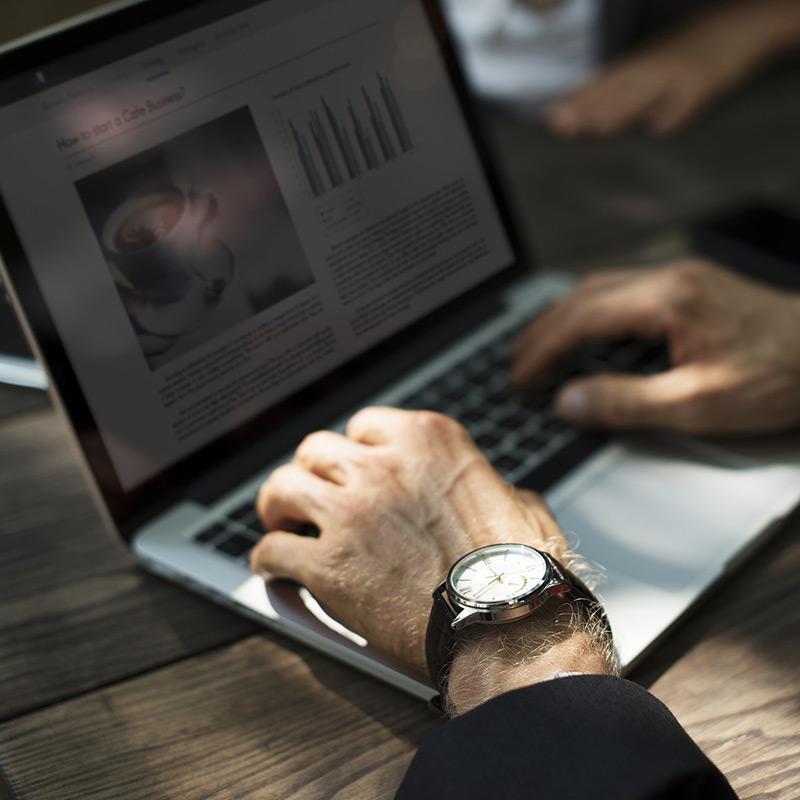 Web publisher on laptop